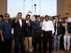 Indian London Olympic medal winners, from left, Gagan Narang, MC Mary Kom, Sushil Kumar, Vijay Kumar, Saina Nehwal and Yogeshwar Dutt at a ceremony by Sports authority of India