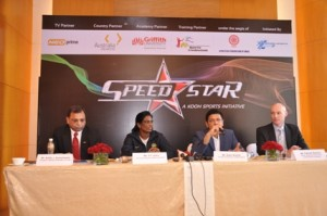 Adille Sumariwalla, President(AFI); P.T. Usha, Speedstar brand ambassador; Susir Kumar, Founder & Chairman, KOOH Sports; Patrick Kearins, Austrade