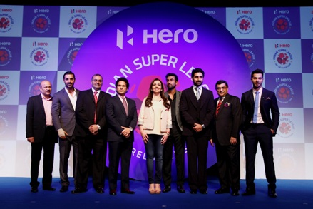Mrs Nita Ambani, Founding Chairperson, Football Sports Development (promoter body of ISL) is flanked by club owners as a show of strength behind the Hero Indian Super League. From L to R : Samir Manchanda (Delhi Dynamos), John Abrahim (NorthEast United FC), Kapil Wadhawan (FC Pune City), Sachin Tendulkar (Kerala Blasters FC), Ranbir Kapoor (Team Mumbai), Abhishek Bachchan (Team Chennai), Utsav Parekh (Atletico de Kolkata) and Varun Dhawan (brand ambassador, FC Goa).