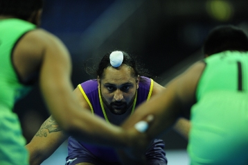 Ramandeep Singh of Vancouver Lions facing the Lahore Lions