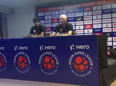 NorthEast United FC coach Ricki Herbert and goalkeeper T P Rehenesh