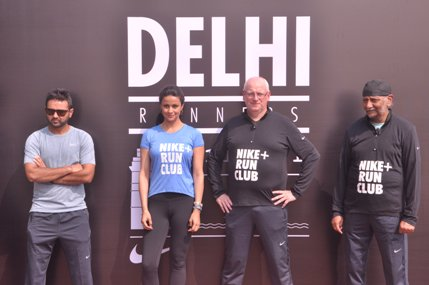Nike athlete Parthiv Patel, Celeb Runner Gul Panag and Nike Run Club Coaches Ian Ladbrooke and Rupinder Singh (NXPowerLite)