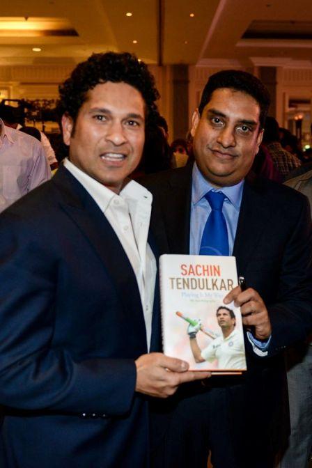 Indian cricket legend and Member of Parliament Sachin Tendulkar presented Cricket historian Boria Majumdar co-authored Tendulkar's autobiography - Playing it my way