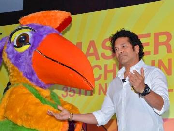 Sachin Tendulkar meets National Games mascot Ammu