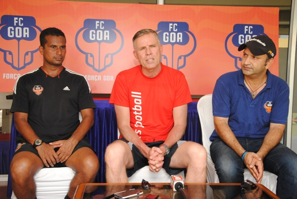 (L-R) Gavin Araujo, Head of Coaching Officer Devlopment, FC Goa, Piet Hubers, Techincal Director Grassroots, Indian Super League and Rahul Raichand, Chief Marketing Officer, FC Goa interacting with the media