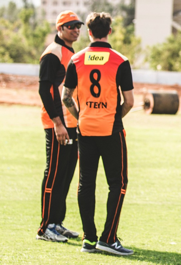 IPL 2015: SRH Mentor VVS Laxman with Dale Steyn during practice today
