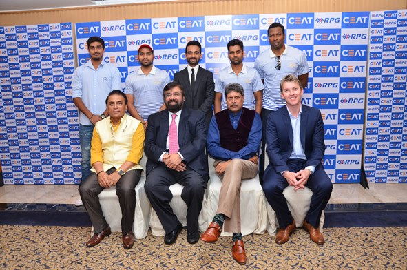 From Left to Right Deepak Hooda, Rohit Sharma, Akinkya Rahane, Vinay Kumar, Kieron pollard, Sunil Gvaskar, Harsh Vardhan Goenka (Chairman RPG Group), Kapil Dev, Brett Lee