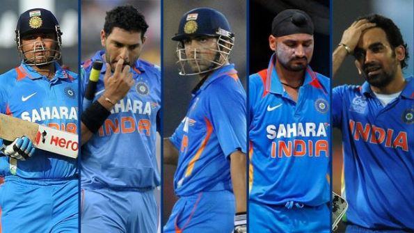 Indian Cricketers: Virender Sehwag, Yuvraj Singh, Gautam Gambhir, Harbhajan Singh and Zaheer Khan