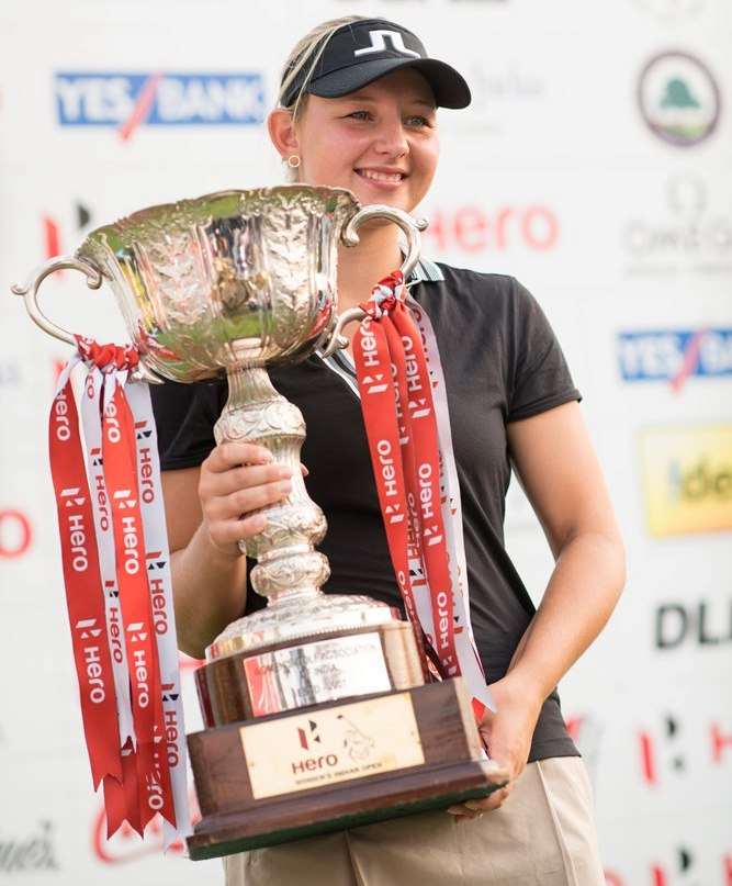 Emily Kristine Pedersen with Hero Women's Indian Open trophy