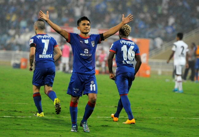 Sunil Chhetri of Mumbai City FC celebrates his hat-trick