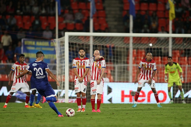 Bruno Pelissari of Chennaiyin FC takes a free kick to  open the scoring