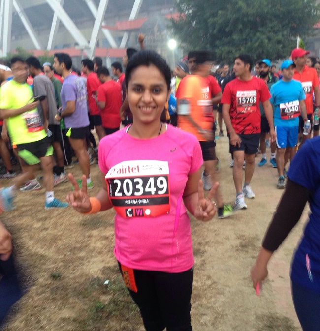 Prerna Sinha - Founder of MaaOfAllBlogs during Airtel Delhi Half Marathon