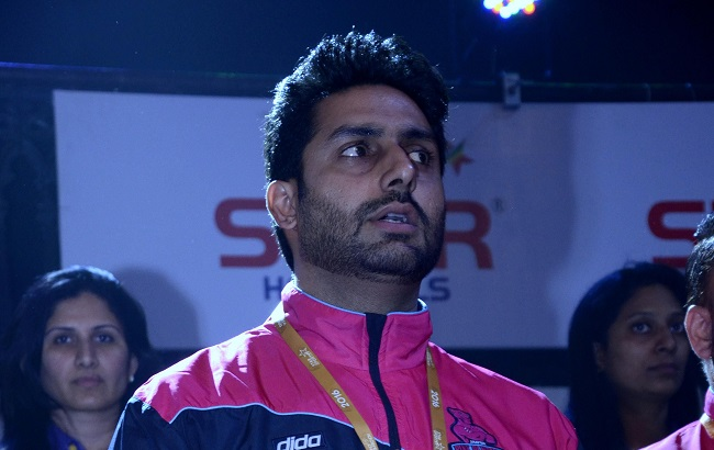 Celebrity owner of Jaipur Pink Panthers Abhishek Bachchan in Vizag on Day 2 of the Star Sports Pro Kabaddi Season 3 to support his team