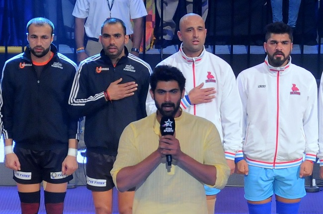 Rana Daggubati doing the rendition of National Anthem on Day 2 of the Star Sports Pro Kabaddi Season 3 in Vizag
