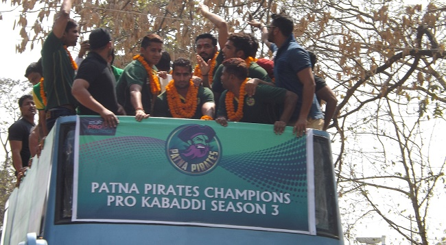 Champions of Star Sports Pro Kabaddi Season 3 - Patna Pirates at a road show to celebrate their victory in Patna