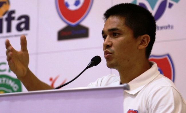 Indian football captain Sunil Chhetri addressing media persons during the announcement of DreamChasers, a unique annual pan-India football talent hunt being launched by Proforce
