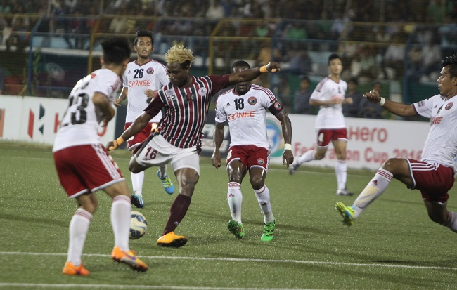 Bagan's Sony Norde lines up a shot against Shillong Lajong in the Hero Federation Cup
