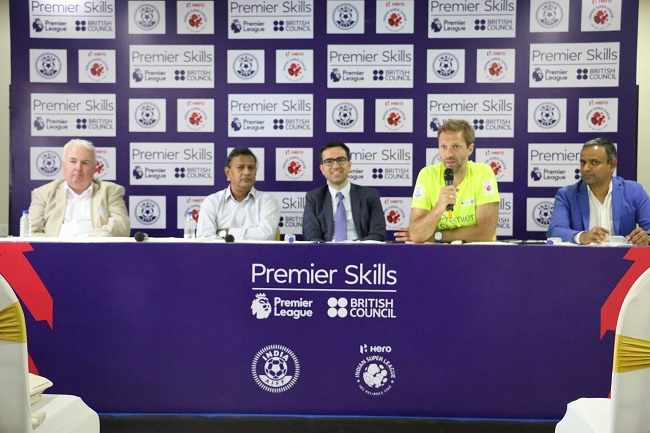 L-R: Collin Wells, Acting British Deputy High Commissioner; Kushal Das, General Secretary AIFF; Alan Gemmel OBE, Director British Council, India; Jeremy Weeks, Premier Skills Head Coach and Sundar Raman, CEO, Reliance Sports at the closing ceremony of Premier Skills Phase 1 in Mumbai