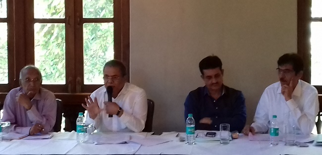 Mr. Arun Lakhani, President, Maharashtra Badminton Association (second from left) along with Mr. Pradeep Gandhe, Senior VP, MBA (second from right), Mr. Kulin Manek, Treasurer, MBA (first from right) and Mr. S. A. Shetty, Secretary, MBA (first from left) addressing audience at MBA's 75th AGM in Mumbai