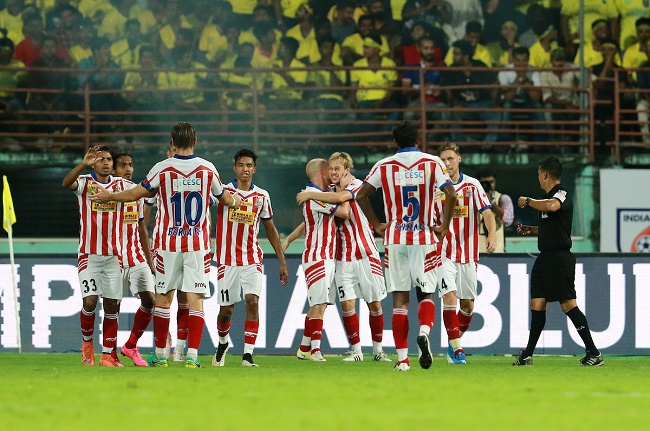 Atletico de Kolkata players celebrates a goal during match 5 of the Indian Super League (ISL) season 3 between Kerala Blasters FC and Atletico de Kolkata held at the Jawaharlal Nehru Stadium in Kochi, India