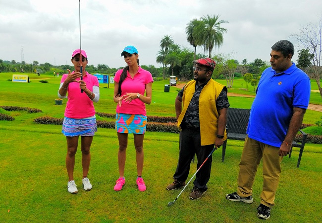 Pro golfers Sharmilla Nicollet and Ankita Tiwana