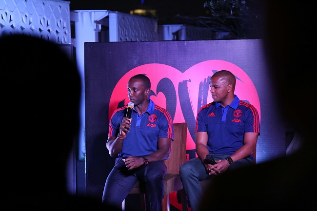 Manchester United Club Ambassador Dwight Yorke and former player Quinton Fortune