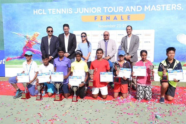 HCL Tennis Junior Tour and Masters winners got felicitated by Mahesh Bhupathi and Roshni Nadar Malhotra