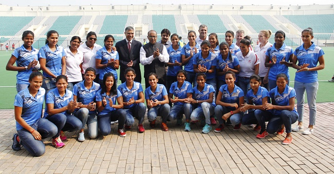 Indian Eves feliciated by Sports Ministry at Major Dhyan Chand National Stadium