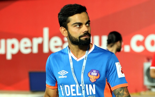 Virat Kohli, Indian cricket captain and co-owner FC Goa  during match 27 of the Indian Super League (ISL) season 3 between FC Goa and Delhi Dynamos FC held at the Fatorda Stadium in Goa, India on the 30th October 2016