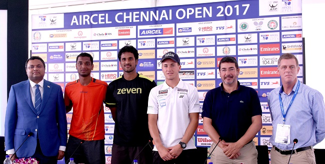 L to R - Karti P Chidambaram, Ramkumar Ramanathan, Saketh Myreni, Casper Ruud, Carlos Sanches and Tom Annear at the Aircel Chennai Open Draw Ceremony