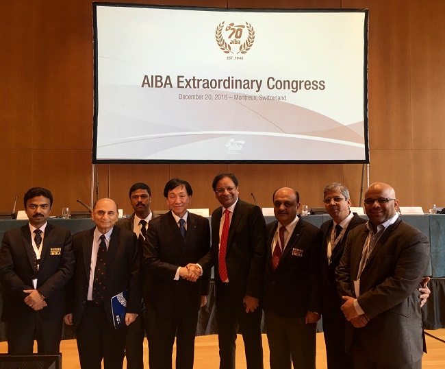 BFI President Ajay Singh with Dr. Ching-Kuo Wu, President AIBA and the Indian Delegate from BFI