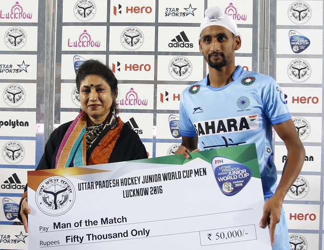 Mandeep Singh won the Man of the Match award