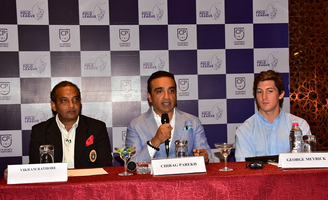 L-R (Vikram Rathore, FIP Polo Ambassador, Chirag Parekh, Founder of Polo League, George Meyrick, Professioanl Polo Player from UK)