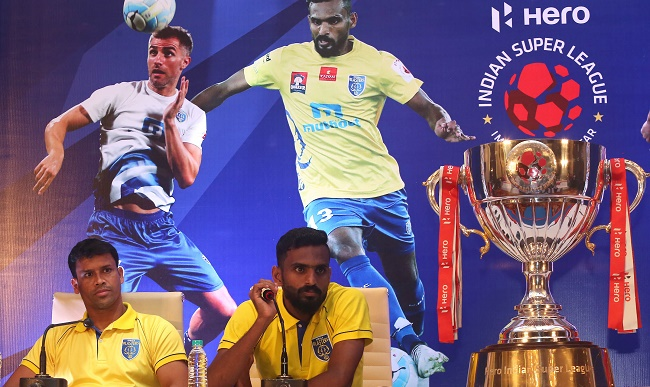 Kerala Blasters goalkeeper Sandip Nandy and CK Vineeth at the Pre-Match Press Conference at Kochi