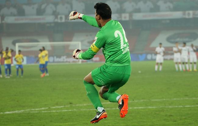 Kerala Blasters FC goalkeeper Sandip Nandy celebrates saving a penalty during the Semi-final 2nd Leg match