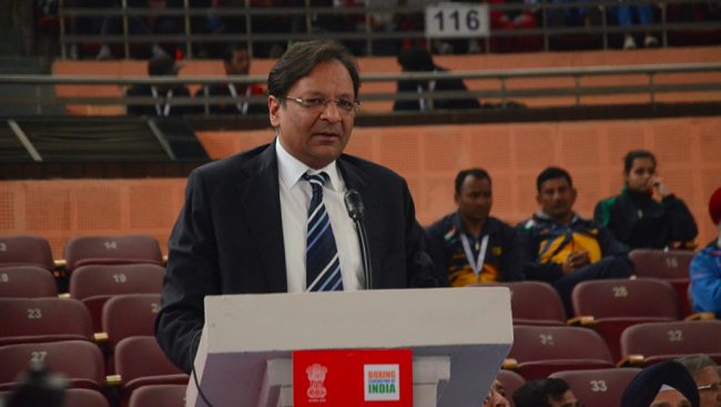 Boxing Federation of India President Ajay Singh addressing the boxing family