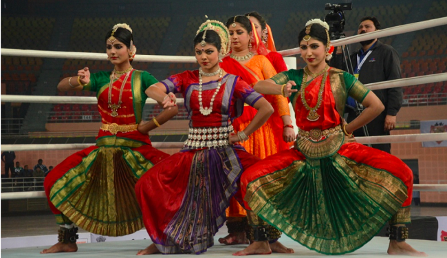 Peformances by folk dancers at the inauguration of BFI's 1st Youth Championship