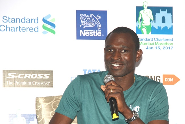 International Event Ambassador David Rudisha at Standard Chartered Mumbai Marathon (SCMM) Media Center