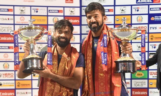 Rohan Bopanna-Jeevan Nedunchezhiyan won the doubles title in the 2017 Aircel Chennai Open today