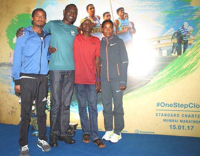 SCMM 2017 International Event Ambassador David Rudisha with top Elite Athletes (L to R) Ethiopia's Seboka Dibaba, Kenya's Levy Matebo & Ethiopia's Dinknesh Mekash.