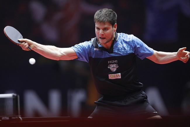 Dimitrij Ovtcharov of Germany in action during the Women singles match held as part of the of the 2017 ITTF WORLD TOUR India held at the Thyagaraj Sports Complex stadium in New Delhi India on the 17th February 2017