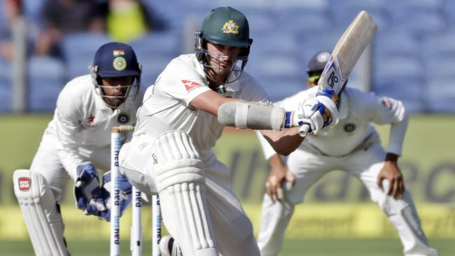 Australia's Mitchell Starc made 57 not out on day one against India and saves the day