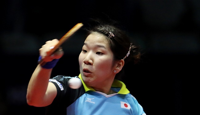 Sakura Mori of Japan in action during the Women singles Final match held as part of the of the Seamaster 2017 ITTF World Tour India Open