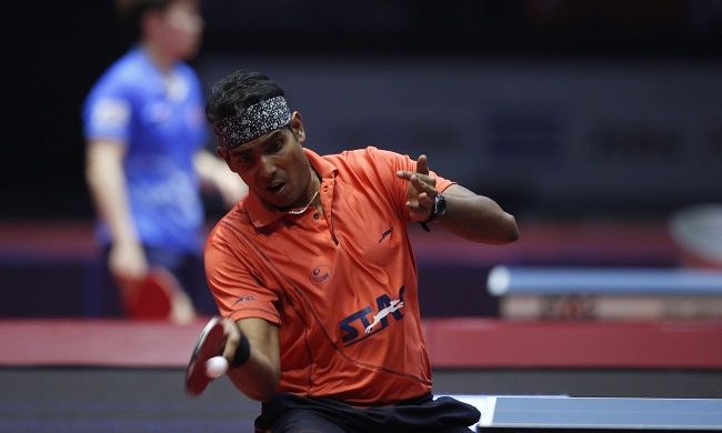 Achanta Sharath Kamal from India in action during the Men's Singles match held as part of the of the 2017 ITTF WORLD TOUR India held at the Thyagaraj Sports Complex stadium in New Delhi India on the 17th February 2017