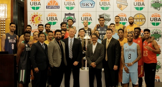 Tausif Shaikh, Administrative Director at UBA, Ranvijay Singh, UBA Brand Ambassador, Todd Mack, Managing Director at UBA, Nandu Mehta, India Director at UBA and Michael Yanke, CMO at UBA along with the players unveil the UBA Pro Basketball League Season 4  trophy.
