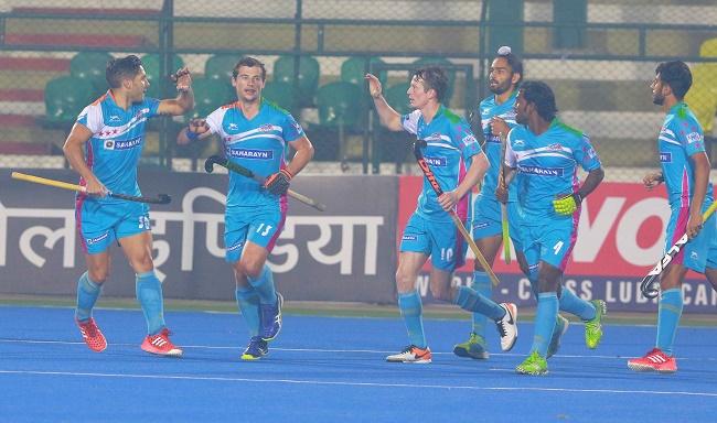 Uttar Pradesh Wizards players celebrate