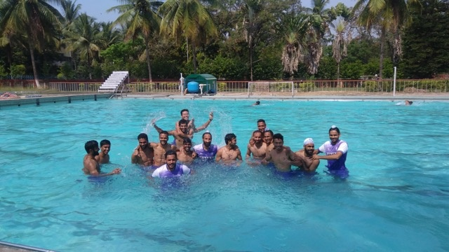 Members of the Senior Men's Hockey Core Probables enjoy a light moment during pool recovery session on Thursday at the SAI, Southern Centre in Bengaluru.