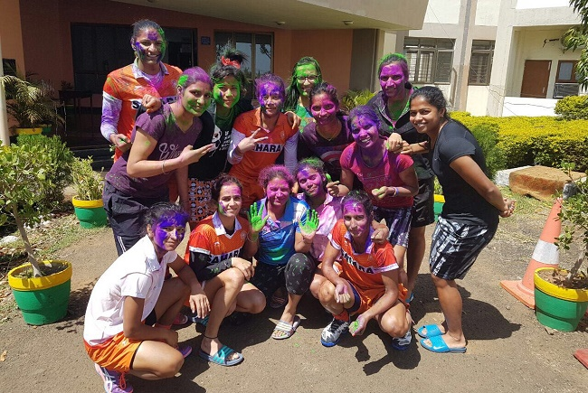 Indian Women's Hockey team enjoy a splash of colours