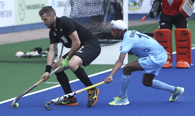 Mandeep Singh in action against Black Sticks