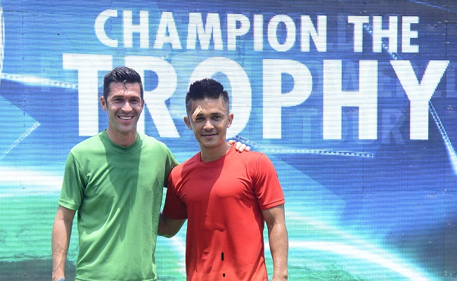 Sunil Chettri & Luis Garcia at UEFA Champions League Trophy Tour presented by Heineken